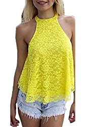 ZANZEA Women's Summer Lace Halter Backless Vest Casual Sleeveless Cami Tops