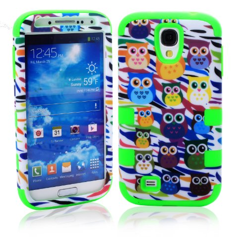 Magicsky Plastic + Silicone Hybrid Owl Zebra Design Hybrid Case For Samsung Galaxy S4 Iv I9500 - 1 Pack - Retail Packaging - Green