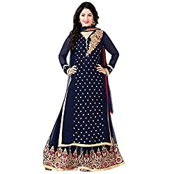 Aika Women's Georgette Fabric Embroidered Dress Material In Blue Color (DR060PA1335-at)