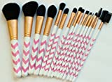 15 Pc Professional Makeup Brushes Set Pink Chevron Design Vegan Cosmetic Brush Set + Bonus Cosmetic Brush Pouch by Altair Beauty. Features: Powder Brush Contour Brush Blending Brush Foundation Brush Concealer Brush Eyeshadow Brushes + More. Perfect Makeup Brushes for Birthday or Holiday Gift!