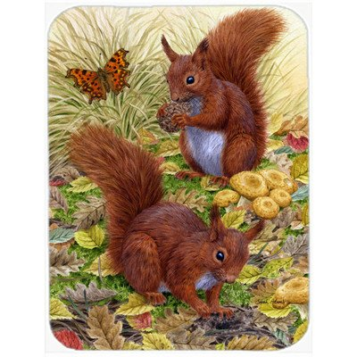 Caroline's Treasures ASA2133LCB Red Squirrels Glass Cutting Board, Large, Multicolor