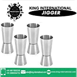 King International Stainless Steel Jigger Set,Peg Measure 30ml & 60ml Set Of 4 Pcs