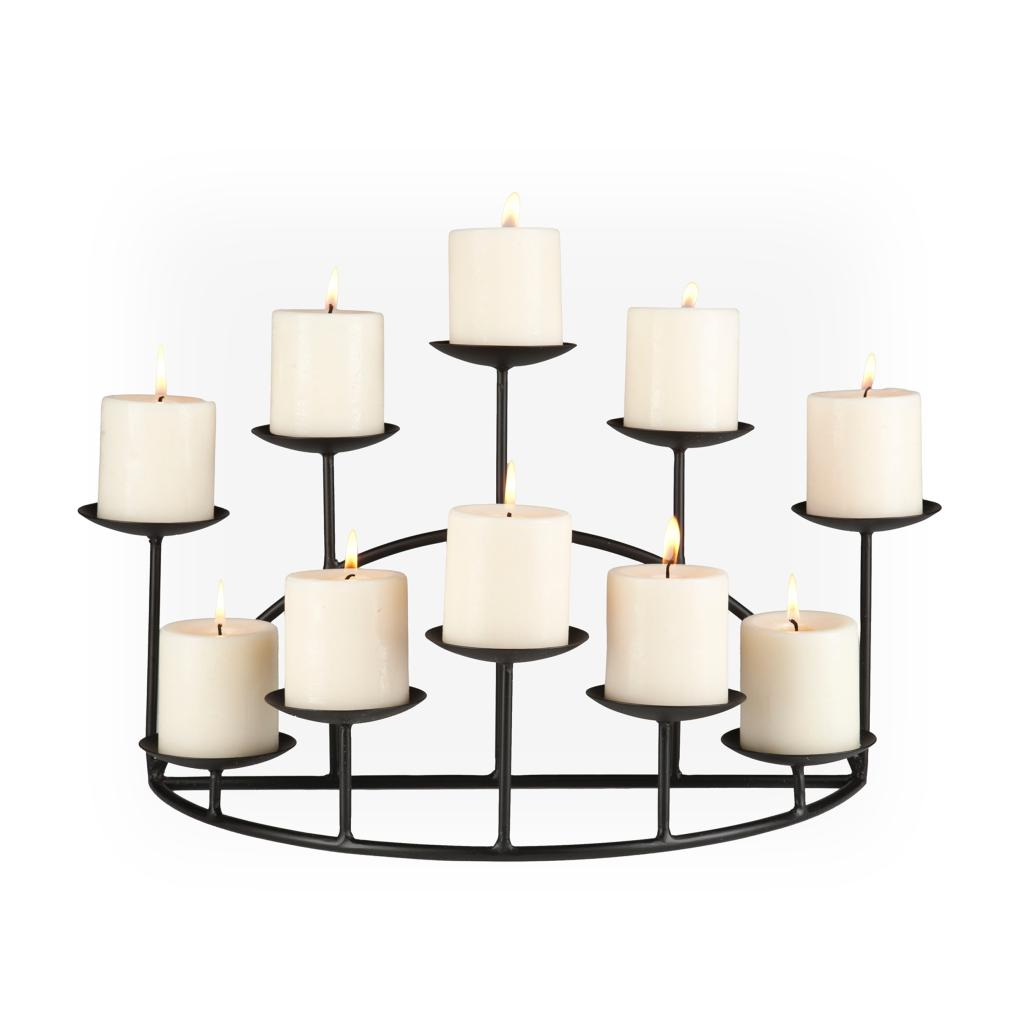 10 candle metal candelabra fireplace candle holder
