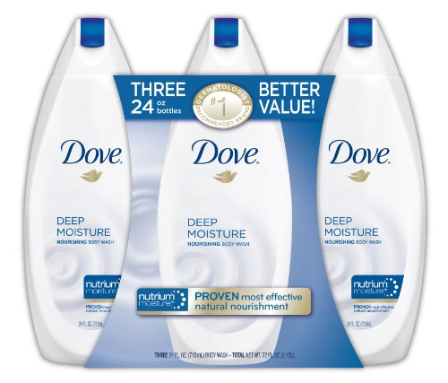 Dove Deep Moisture Body Wash Value Pack, 24 Ounce, 3 Count