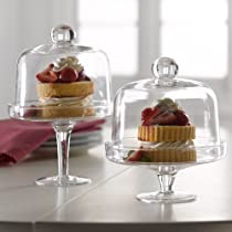 Clear Glass Mini Domed Set of Two Dessert,Cake Stands