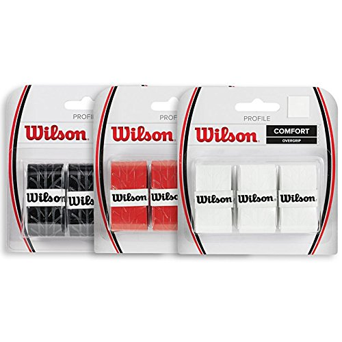 Wilson Profile Overgrip x 3 Grip Red Grip per Racchette da Tennis