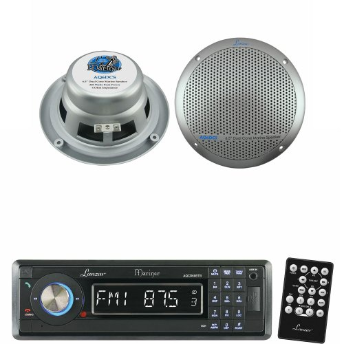 Lanzar Marine Receiver And Speaker System Package For Your Boat, Pool, Deck, Patio, Etc. - Aqcd60Btb Am/Fm-Mpx In-Dash Marine Detachable Face Radio Cd/Sd/Mmc/Usb Player & Bluetooth Wireless Technology - Aq6Dcs 360 Watts 6.5'' Dual Cone Marine Speakers (Si front-267025