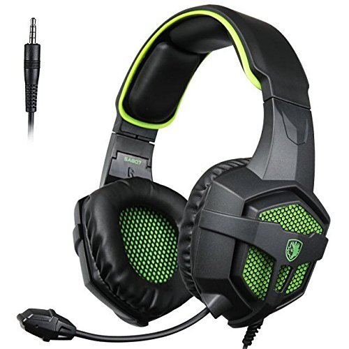 [2016d] SADES SA807 Multi-Platform Stereo Pro Gaming Headset Headphones with Mic Volume-Control for PS4 Xbox One PC Mac Tablets Ipad Ipod Android MP3 MP4 (Black & Green)