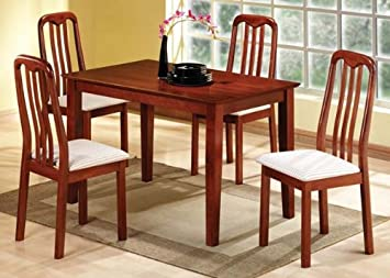 Solid Wood Dining Table and 6 High Back Wood Chair in Cherry Finish ADS90176-ch,90170-ch