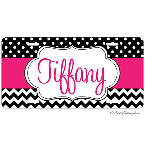 Personalized Car Tag - Auto Tag - Dots and Chevrons Hot Pink (Personalized Car Accessories compare prices)