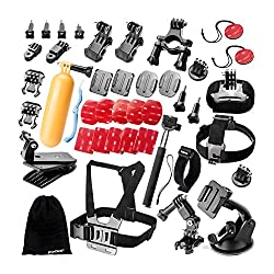 Zookki 40 in 1 Outdoor Sports Accessories Kit for GoPro Hero 4 3+ 3 2 1 Black Silver Accessory Kit for GoPro 4 3+ 3 2 1 SJ4000 SJ5000 SJ6000 in Parachuting Swimming Rowing Surfing Skiing Climbing Running Bike Riding Camping D