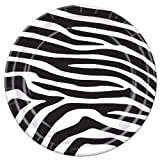 Zebra Party Plates- Jungle Animal Black White Theme Parties