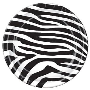 Zebra Print Plates Party Accessory (1 count) (8/Pkg)