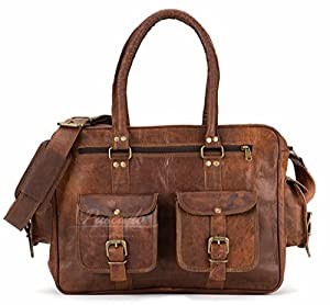 Handmade leather weekender travel luggage carry on luggage bag