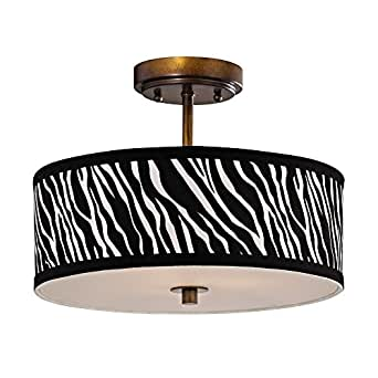 Zebra Print Ceiling Light With Drum Shade 14 Inches Wide Semi Flush Mount
