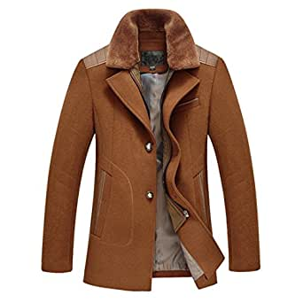 Siqilong Mens casual Wool Classic Pea Coat Winter Coat at
