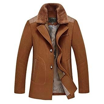Siqilong Mens casual Wool Classic Pea Coat Winter Coat at Amazon Men's Clothing store: