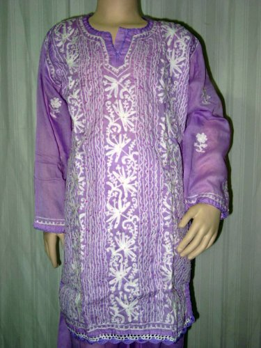 Girls Purple White Embroidered Cotton Salwar Kameez with Dupatta Bollywood India Fashion