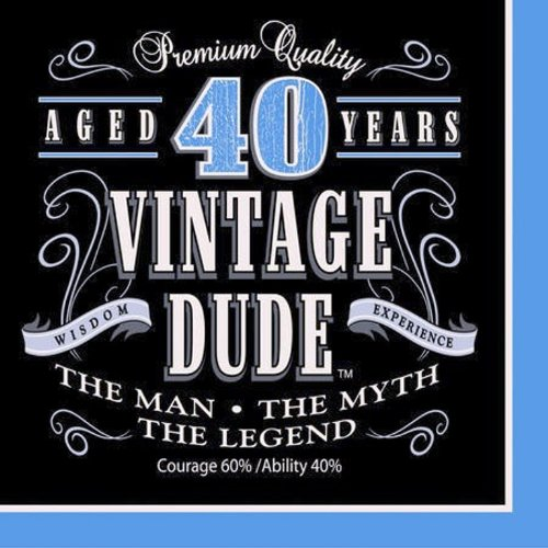 Creative Converting 16 Count Vintage Dude 40Th Birthday Lunch Napkins front-710674