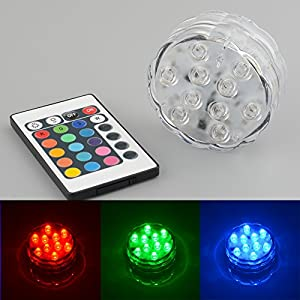 GLADLE® 10 LED Multicolor Submersible Party Vase Base Light Bright Lamp Remote Control by GLADLE