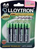 UK Dapper - Lloytron B011 Standard Rechargeable AA Size 800mAh Batteries (Pack of 4)