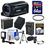 Canon Vixia HF R600 1080p HD Video Camcorder (Black) with 64GB Card + Hard Case + LED Light + Microphone + Battery & Charger + Tripod Kit