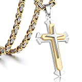 Trendsmax Jewelry Stainless Steel Cross Pendant Necklace Mens Boys Chain 5mm 22inch Byzantine Chain