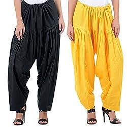 Numbrave Women's Black-Yellow Cotton Full Patiala Salwar (Combo of 2)