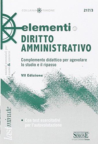 Elementi di diritto amministrativo Complemento didattico per agevolare lo studio e il ripasso PDF