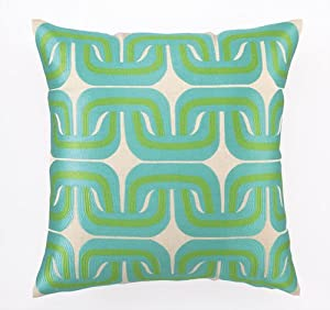 Trina Turk Geo Links Embroidered Blue & Green Pillow