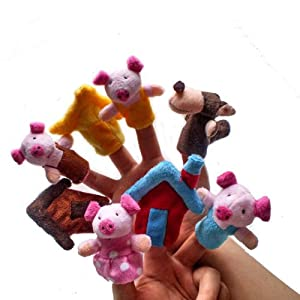 Qandsweet Kid's Toy Three Little Pigs Finger Puppets Set (8 Pack) from QandSweet