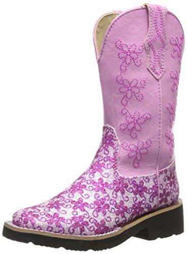 Roper Square Toe Floral Glitter Western Boot (Toddler/Little Kid),Pink/White,12 M Us Little Kid front-1074392