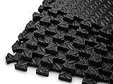 HemingWeigh Puzzle Exercise Mat EVA Foam Interlocking Tiles (Black, 24 Square Feet)