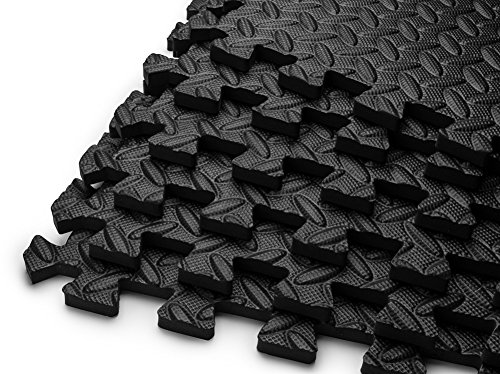 HemingWeigh Puzzle Exercise Mat EVA Foam Interlocking Tiles (Black, 24 Square Feet)