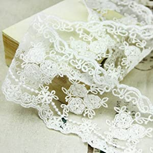 "Wholeport 3.5"" White Lace Trim Cotton Embroidery Flower Soft Gauze Wedding Fabric By the Yard"