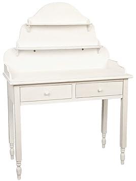 5H0032W en la pared-de la mesa de cómoda con 2 cajones de colour blanco de unos 105 x 50 x 143 cm