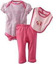 Bon Bebe Baby-Girls Newborn Butterfly and Stripes 3 Piece Pant Set, Pink/White, 0-3 Months