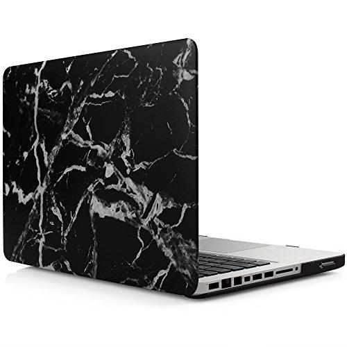iDOO Étui solide en Mat givré en caoutchouc [Pour MacBook Pro 13 pouces - Avec lecteur CD: A1278] - Motif Marbre Noir