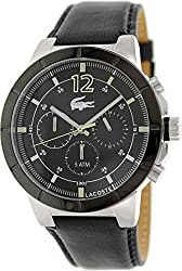 Lacoste Darwin Chronograph Black Dial Black Leather Mens Watch 2010743