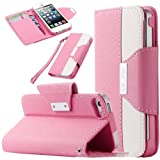 myLife (TM) Light Pink and White Fashion Design - Textured Koskin Faux Leather (Card and ID Holder + Magnetic Detachable Closing) Slim Wallet for iPhone 5/5S (5G) 5th Generation iTouch Smartphone by Apple (External Rugged Synthetic Leather With Magnetic Clip + Internal Secure Snap In Hard Rubberized Bumper Holder)
