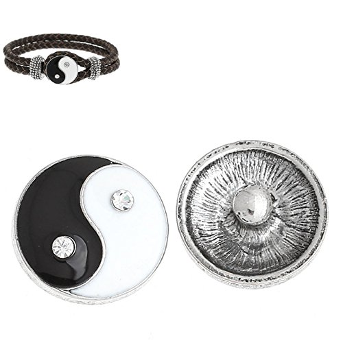 5pcs Rhinestone Snaps Chunk Buttons Yin and Yang for Charms Bracelet