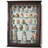 Wall Curio Cabinet With Glass Shelves And Door, Mirrored Background SC06B (Cherry)