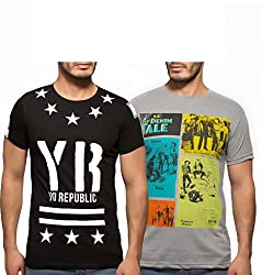 Yo Republic Mens Cotton Tshirt Combo Offer (Pack of 2)(AT-0073-1S_Black_Grey_Small)