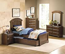 Hot Sale Standard Furniture Parker 5 Piece Kids Panel Bedroom Set W/ Trundle In Golden Brown Cherry