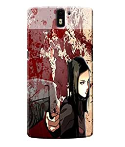 Fuson Blood Gun Girl Back Case Cover for ONEPLUS ONE - D3831