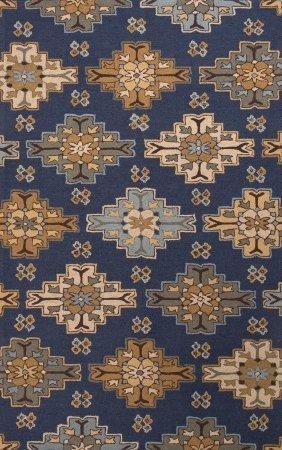 Jaipurrugs Home Indoor Floor Decorative Hand-Tufted Durable Wool Blue/Tan Wayward Rectangle Area Rug Border Color Deep Navy 2X3 front-254130