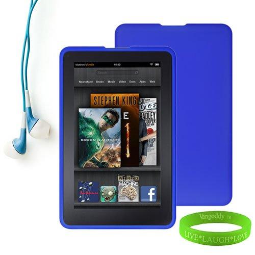 Amazon Kindle Fire Accessories Kit, Bundle Includes: Blue Dust Resistant Kindle Fire Skin Cover + Compatible Noise Reduction Blue Kindle Fire Earbuds Earphones + Vangoddy Tm Live * Laugh * Love Wrist Band!!!