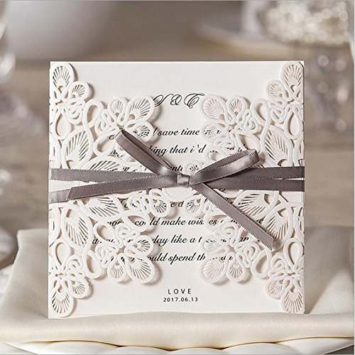 Doris Home Laser Cut Square Wedding Invitations Cards Kits with Bowknot Hollow Favors Cardstock for Engagement Bridal Shower Baby Shower Birthday Graduation 50 Pcs/Lot