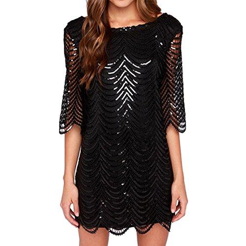 Buy E.JAN1ST Women's Metallic Dress Boatneck 3/4 Sleeve Wave Gold Shift Party Dresses