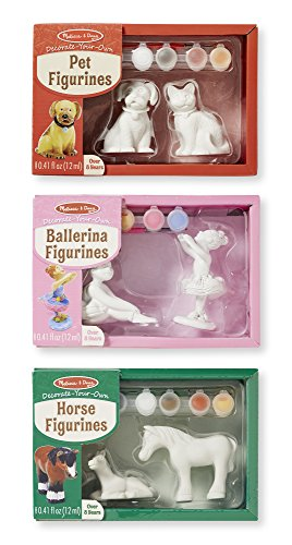 Melissa & Doug Decorate-Your-Own Figurines Craft Kits Set - Ballerinas, Horses, and Pets